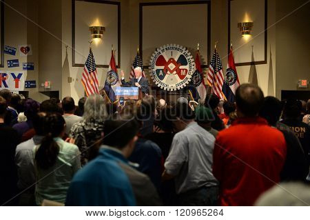 Bridgeton, MO/USA -? March 08, 2016: Former president Bill Clinton speaks to supporters of wife and candidate Hillary Clinton, at District 9 Machinists Hall in Bridgeton, outside St. Louis.
