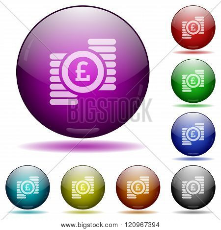 Pound Coins Glass Sphere Buttons
