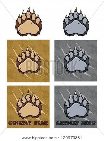 Bear Paw With Claws Logo Design Collection