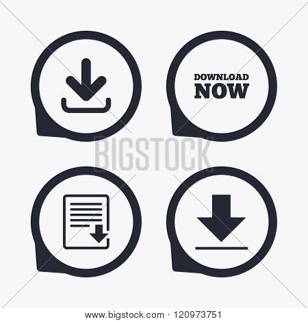 Download now signs. Upload file document icon.