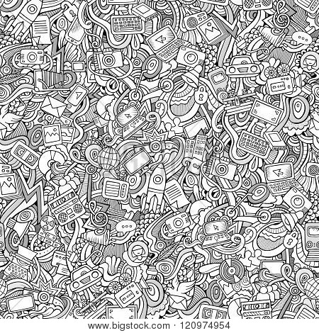 Cartoon vector Doodles social media, technical, transport seamless pattern.