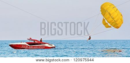 Parasailing In A Blue Sky