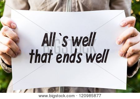 Woman Is Holding A Paper With Text