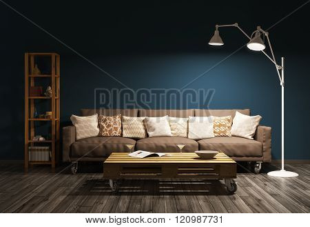 Modern evening interior of living room 3d render
