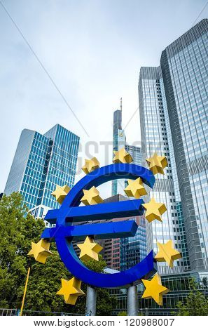 Frankfurt, Germany - July 11 : Euro Sign. European Central Bank (ECB) is the central bank for the euro and administers the monetary policy of the Eurozone. July 11, 2015 in Frankfurt, Germany.