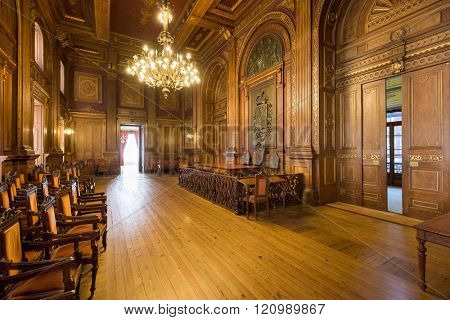 PORTO, PORTUGAL - OCTOBER 15, 2014: Interior of Stock Exchange Palace (Palacio da Bolsa). The palace was built in the 19th century by the city's Commercial Association.