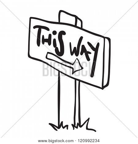 simple black and white wooden sign with arrow cartoon doodle