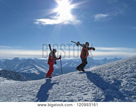 Skiing. Winter mountain landscape. Skiers.
