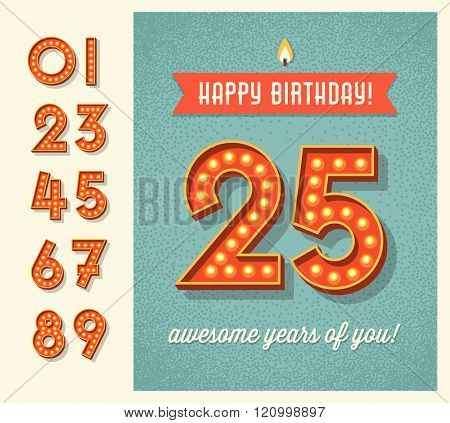Happy Birthday card or banner design with set of lighted retro numbers. easy to edit.