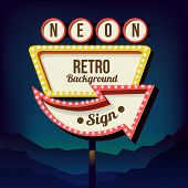 Vintage signboard with lights. Roadside sign. Road red and yellow sign from the 50s. Retro billboard with lamps. Black background with a blank frame 3D. Shield against night mountain. Vector poster