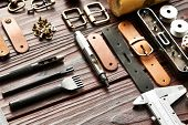 Leather crafting DIY tools still life  poster