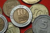 Coins of Israel. Israeli ten new shekels coins.  poster