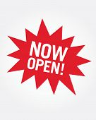 Vector 'Now Open' Retail Star burst Icon poster
