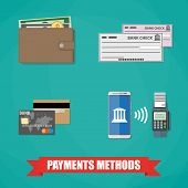 Bank Card, wallet with Money cash Coin, bank check, nfc style payment between smartphone and pos terminal. Payment Methods icons. payment Concept. vector illustration flat design on green background poster
