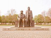 Marx and Engels statue in Marx-Engels-Forum Alexanderplatz Berlin vintage poster