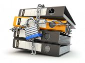 Data and privacy security. Information protection. File folder and chain with lock. 3d poster