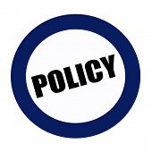 an images of POLICY black stamp text on white poster