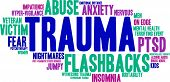 Trauma word cloud on a white background. poster
