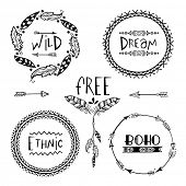 Set of four creative Boho style Frames mady by Ethnic Feathers, Arrows and Floral Elements with space for your text on grey background.  poster