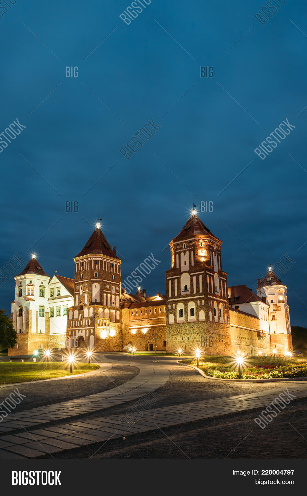 Mir Castle Complex In Evening Illumination Lighting Famous Landmark Ancient