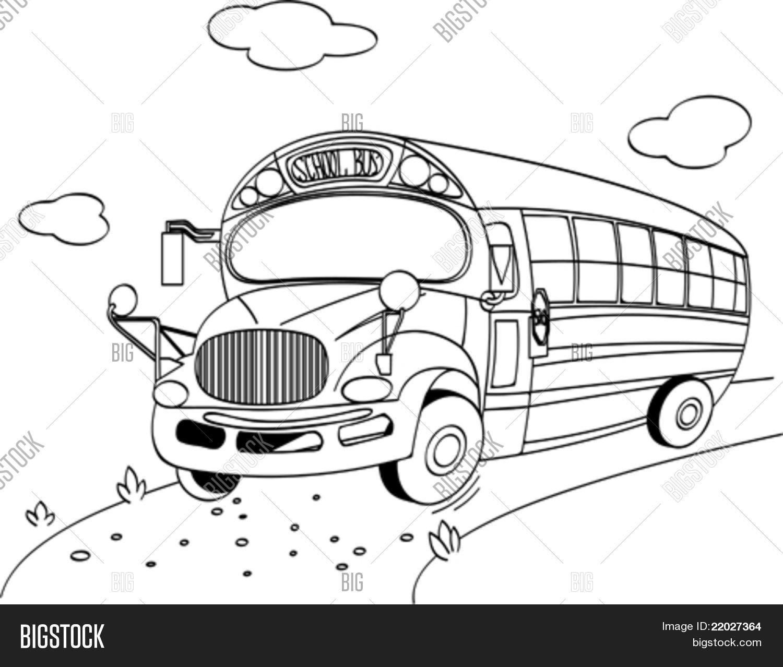 Vector y foto Página Para Colorear De Un Autobú | Bigstock