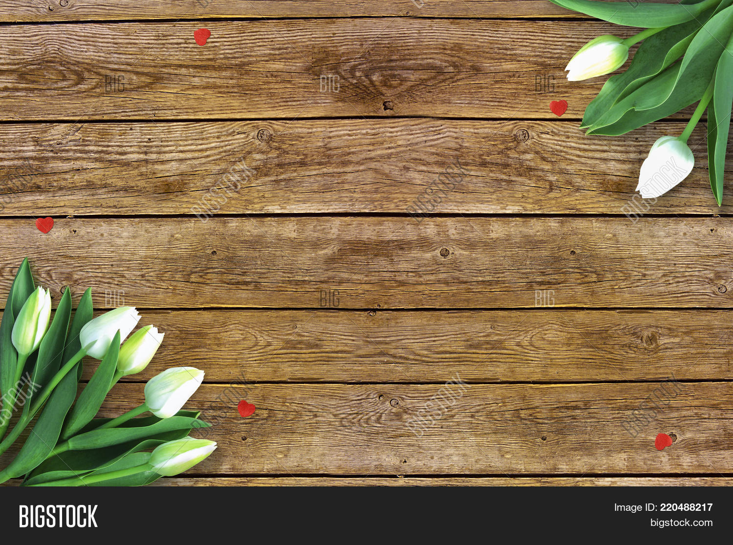 Tulips On Wooden Background With Space For Message Mothers Day Flowers Rustic