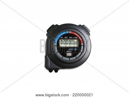 Stopwatch on white background, Closeup stopwatch on white background, Over light and soft-focus
