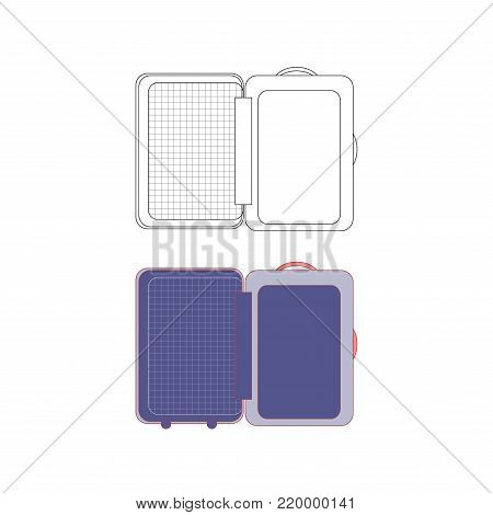 Opening Suitcase for Vacation. Vector Illustration. isolated on White Background.