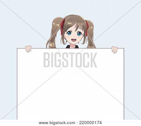 Japanese Asian woman holding white big sign board. Isolated portrait. Cartoon anime manga schoolgirl character. White paper mockup