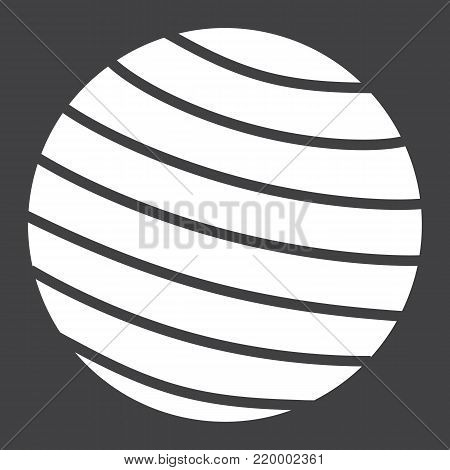 Fitness rubber ball glyph icon, fitness and sport, gym ball sign vector graphics, a solid pattern on a black background, eps 10.