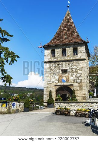 Rhein Waterfall, Germany - April 2017:  at the entrance to Laufer castle at Rhein Waterfall