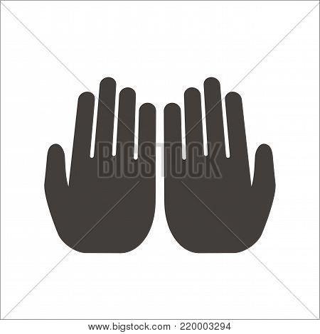 Open hands Muslim prayer on white background. Isolated vector illustration.