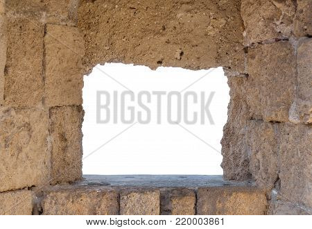 Old medieval castle frame window with white space for comercial