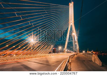 Shrouds Of Vansu Bridge formerly Gorky Bridge In Riga, Latvia. 595 Meters In Length. Vansu Bridge - One Of The Symbols Of Modern Riga. Cable-Stayed Bridge That Crosses The Daugava River.