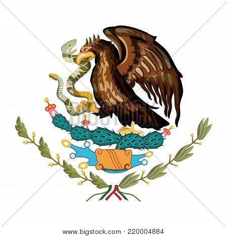 mexican flag emblem of colorful silhouette of eagle with rattlesnake in peak over plant of cactus vector illustration poster