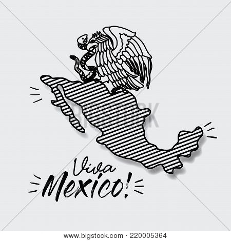viva mexico poster with map striped and emblem of eagle with snake in black silhouette vector illustration