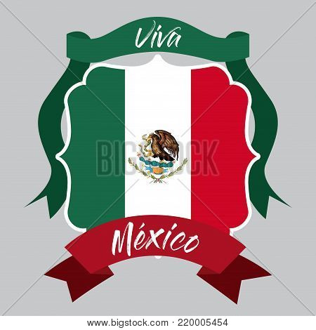 viva mexico insignia flag with decorative ribbon in colorful silhouette vector illustration