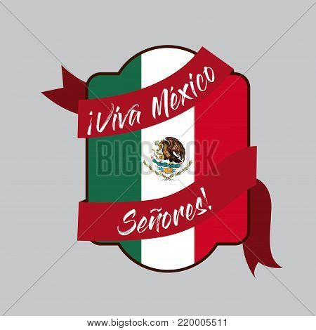 viva mexico insignia flag with decorative ribbon around in colorful silhouette vector illustration