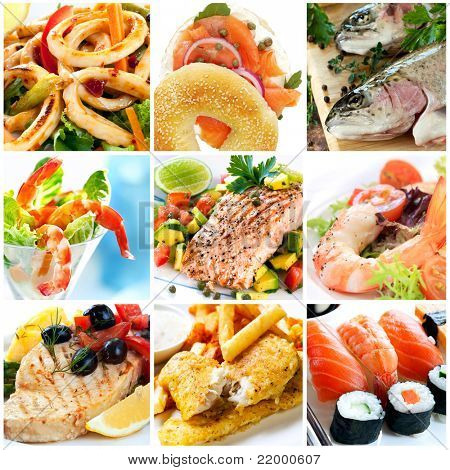 Collage of seafood images.  Includes calamari, smoked salmon, rainbow trout, prawns, atlantic salmon, swordfish, traditional fish and chips, and sushi.