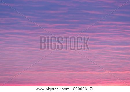 Sunset Or Sunrise Sky Background. Natural Bright Dramatic Sky In Sunset Dawn Sunrise. Blue And Pink Colors.