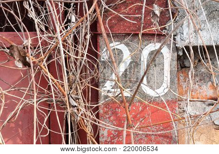 Old vintage house number 20 painted with white paint on the concrete pole of abandoned home overgrown with vegetation