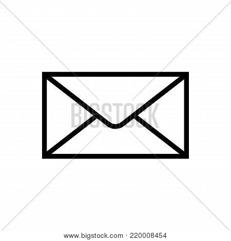 Mail icon isolated on white background. Vector illustration. Flat design style. Envelope pictogram. Line mail symbol for website design, app, ui. Vector illustration
