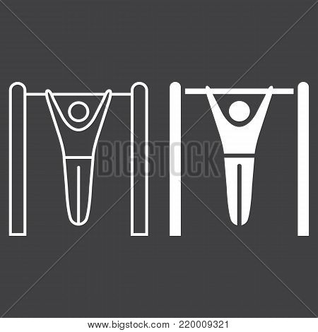 Fitness pull up line and glyph icon, fitness and sport, workout sign vector graphics, a linear pattern on a black background, eps 10.