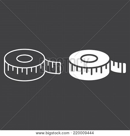 Measure tape line and glyph icon, centimeter and size, fitness ruler sign vector graphics, a linear pattern on a black background, eps 10.