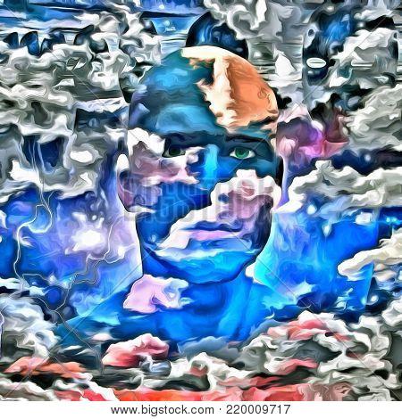 Surreal digital art. Man's head in cloudy sky.