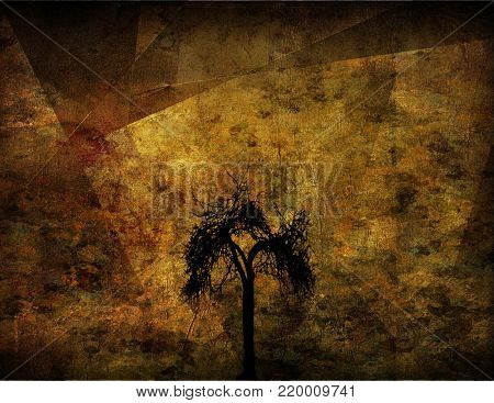 Lonely tree. Grunge image technic. 3D rendering