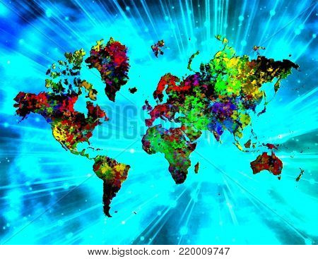 Abstract painting. Colorful world map. Rays of light on a background.