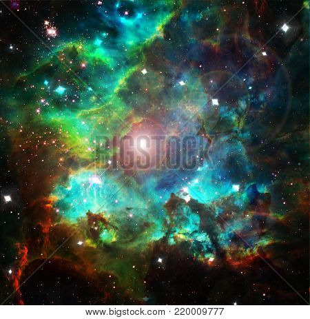 Nebulae, stars, galaxies. Vivid colors. 3D rendering. Some elements provided courtesy of NASA