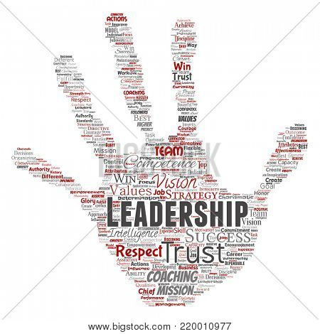 Conceptual business leadership strategy, management value hand print stamp word cloud isolated background. Collage of success, achievement, responsibility, intelligence authority or competence