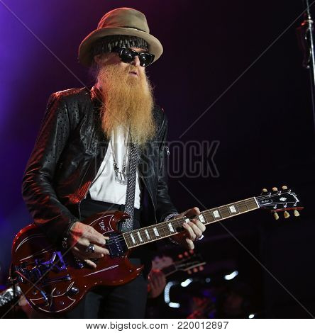 NEW YORK, NY - NOVEMBER 29: Musician Billy Gibbons performs at America Salutes You and Wall Street Rocks Presents Guitar Legends For Heroes at Terminal 5 on November 29, 2017 in New York City.